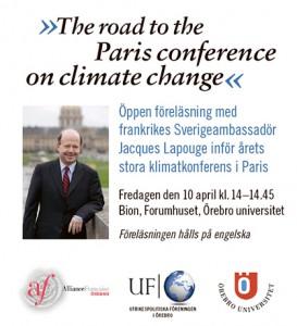 Frankrikes ambassadör håller föreläsning om klimaten