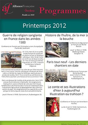 programme français printemps 2012 AFÖ